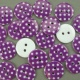 Purple 16.75g Plastic Buttons Round Polka Dot Spots, 2 Hole 18mm 18mm