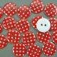 Red 16.75g Plastic Buttons Round Polka Dot Spots, 2 Hole 18mm 18mm